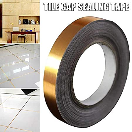 Syfinee Ceramic Tile Mildewproof Gap Tape Tile Gap Sealing Tape Waterproof Foil Strip Silver Golden Rims Self Adhesive Tape Wall Tile Floor Gap Sealing Tape Waterproof Strip Self Adhesive Home Decor