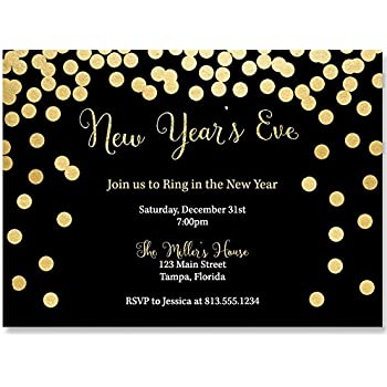 new years eve party invitations black gold cheers champagne winter glitter 10 printed invites with envelopes