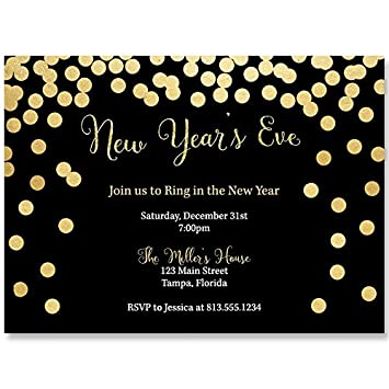 new years eve party invitations black gold cheers champagne winter