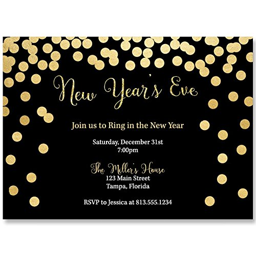 New Years Eve, Party Invitations, Black, Gold, Cheers, Champagne, Winter, Glitter, 10 Printed Invites with Envelopes,