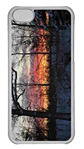 Customized iphone 5C PC Transparent Case - Trees Winter Dusk Personalized Cover