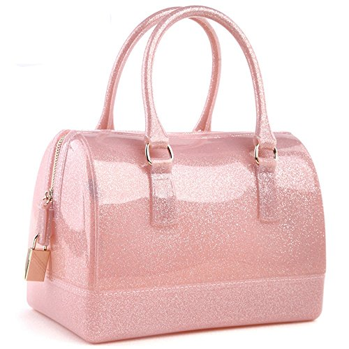 Ladies Summer Jelly Pillow-shaped Top Handle Handbag Candy Color Transparent Crystal Purse (Shining Pink) -