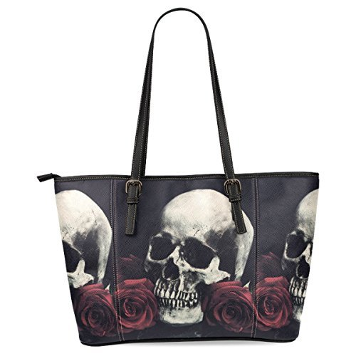 InterestPrint Sugar Skull Women's Leather Tote Shoulder Bags Handbags