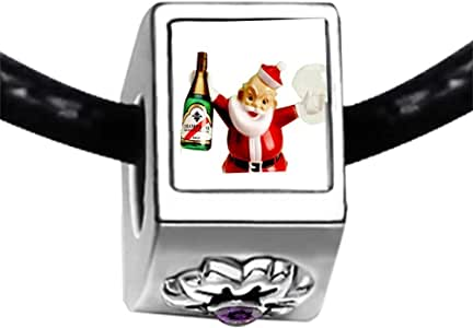 Chicforest Silver Plated Champagne Santa Photo Purple Amethyst Crystal February Birthstone Flower Charm Beads Fits Pandora Charm Bracelet