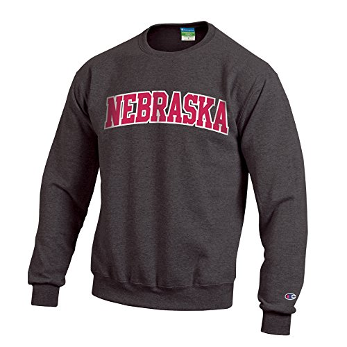Champion NCAA Nebraska Cornhuskers Men's Eco Powerblend Crew Neck Sweat Shirt, Large, Granite Heather