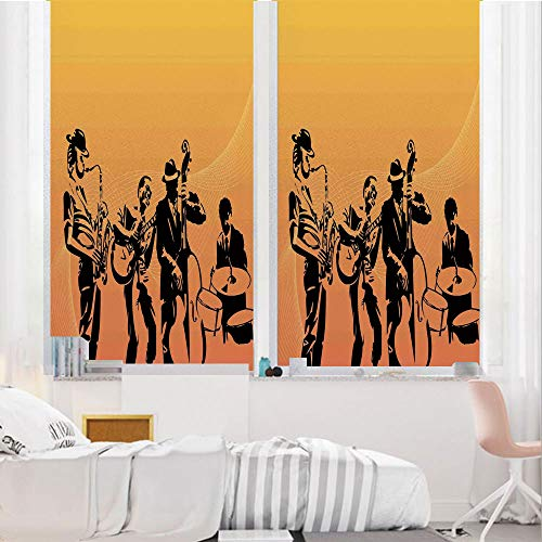 Jazz Music 3D No Glue Static Decorative Privacy Window Films, Silhouette of Jazz Quartet Performing on Stage Acoustic Passion Old Style Art,24