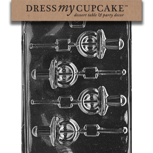 Dress My Cupcake Chocolate Candy Mold, Pacifier Lollipop, Baby Shower Baby Shower Chocolate Lollipops