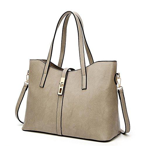 Penao vueltas 35cmx15cmx27cm bolso señoras bolso Moda las de tamaño Grey de cien simple solo messenger rqErxw8O