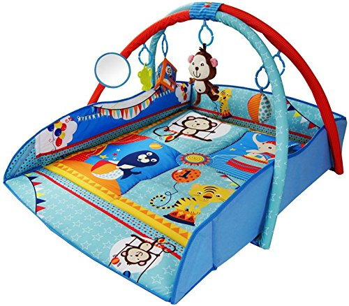 Large 110 x 110cm Light & Musical 4 in 1 Baby Activity Toy Play Mat Playmat Gym BLUE CIRCUS just4baby