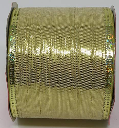 Shopper Trim (Christmas Ribbon Wire-Edged 2.5 inch x 9 Feet (Gold Metallic Stripe))