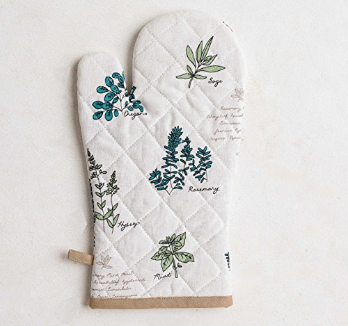 Mayfair Linen 100% Cotton Oven Mitt, 7.50-Inch by 13-Inch Designed in France by (Basil)