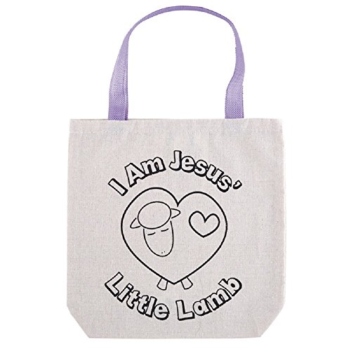 Jesus' Little Lamb Color-Your-Own Tote Bag- 12pk by AT001