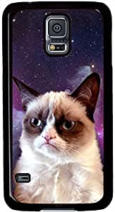 Grumpy Cat Samsung Galaxy S5 Case Durable Protective Case for Black Cover Skin - Compatible With Samsung Galaxy S5 SV i9600