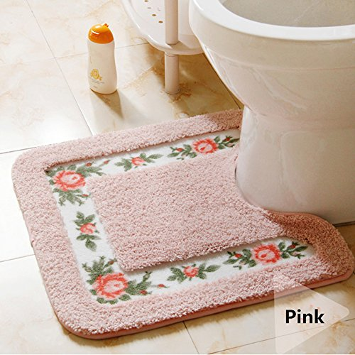 Ukeler Non-skid Floral Rose Bathroom Contour Rugs, Set of 2 Soft Shaggy Non Slip Bath Shower Mat and U-shaped Toilet Floor Rugs, Pink