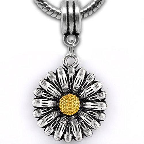 Sun Flower Dangle European Beads For Snake Chain Charm Bracelet ()