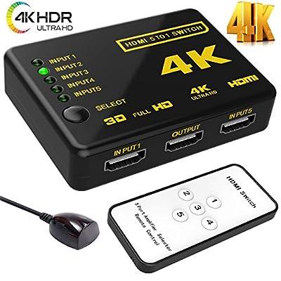Hhusali Intelligent 5-Port HDMI Switch, Supports 4K, Full HD1080p, 3D with IR Remote (Black-5Port)