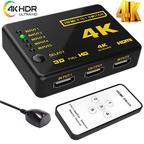 Hhusali Intelligent 5-Port HDMI Switch, Supports 4K, Full HD1080p, 3D with IR Remote (Black-5Port)