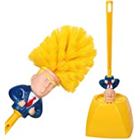 Donald Trump Toilet Brush and Base - Toilet Scrubber Plastic Bathroom Supply - Novelty Funny Men/Women Yellow