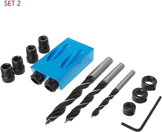 8 14/Lot de 6 10/mm Oblique trou Positionneur Locator Embouts de per/çage Jig Clamp Kit de menuiserie Haven Shop Poche Slant trou Jig kit