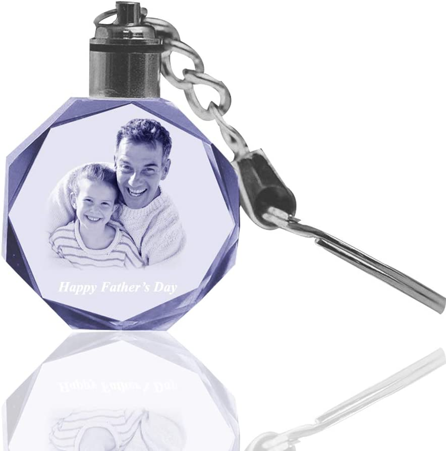 Lots 10 Personalizd Laser Etched Engraving Crystal Glass LED Key chain ring Logo