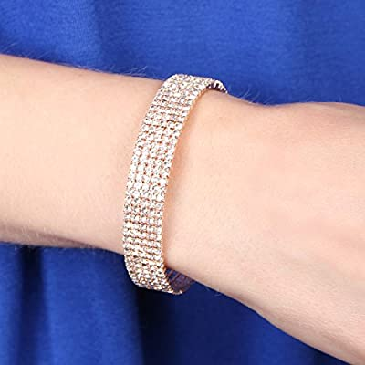 Sparkly Rhinestone Bridal Wedding Statement Bracelet - Cubic Zirconia Crystal Stretch Memory Wire/Adjustable Wrist Band Cuff/Hinge Bangle/Delicate Star Heart Flower (Band -5 Row - Rose Gold)