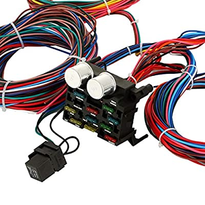 Mophorn Wiring Harness Kit 12 Circuit Hot Rod Universal Wiring Harness Muscle Car Street Rod XL Wires: Automotive
