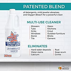 Bring It On Cleaner: Shower Door Hard Water Spot Stain Remover with OXYGEN BLEACH. Safely Clean Shower Door Glass, Tiles, Taps, Grout and Fiberglas 32oz
