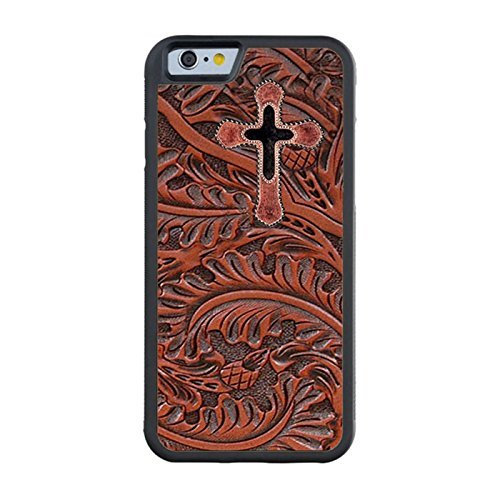 Gory Case for iPhone 6 4.7 inch Print iPhone Case Laser Technology Customize iPhone 6 Rubber Case Western Cowhide Cross On Tooled Leather Look Print iPhone 6 Case
