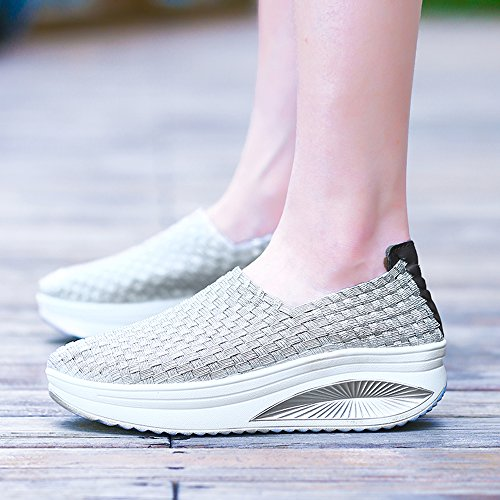 EnllerviiD Women Multicolor Braid Fashion Sneakers Casual Slip-On Platform Weave Shoes 908 Silver ujNuQHp