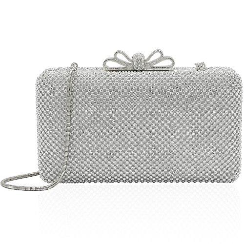 Silver Solid Handbag (Dexmay Bling Rhinestone Crystal Clutch Purse Bow Clasp Women Evening Bag for Bridesmaid Wedding Party Silver)