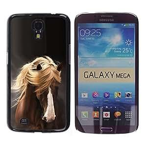 FlareStar Colour Printing Mane Horse Hair Golden Brown Pet Grey cáscara Funda Case Caso de plástico para Samsung Galaxy Mega 6.3 / i9200 / SGH-i527