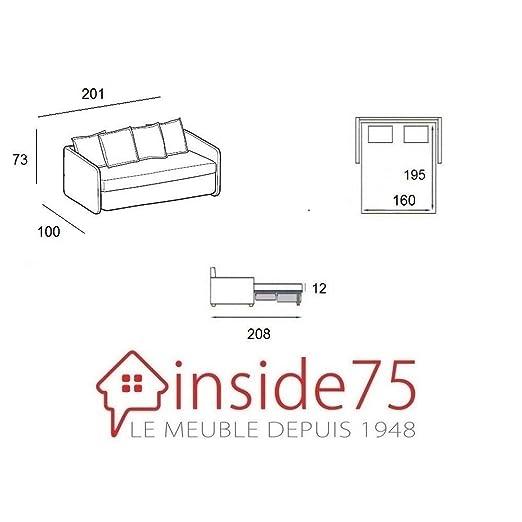 DITRE ITALIA Sofá Odessa Convertible Apertura Rapido de Alta definición Dormir 160 cm Tela Tweed écru: Amazon.es: Hogar
