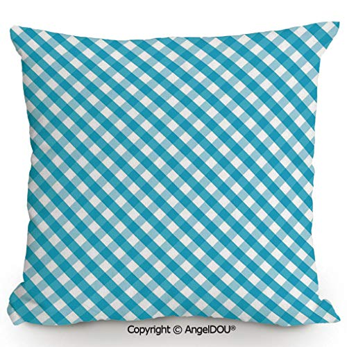 (AngelDOU Back Cushion Nice Throw Pillow,Diagonal Stripes in Aqua Color Monochrome Crossed Lines in Classical Tile Design,Sofa Bed Head Waist Pillow Back car Waist pa17.7x17.7 inches)