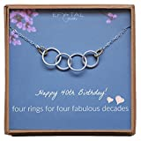 Efy Tal Jewelry Happy 40th Birthday Decades Necklace, Sterling Silver 4 Thick Rings with Gold Filled Touch, 40 Years