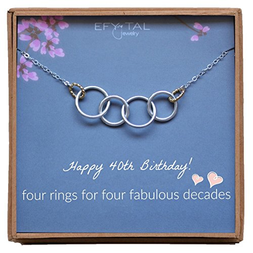 Efy Tal Jewelry Happy 40th Birthday Gifts for Women Necklace, Sterling Silver 4 Rings Four Decades Necklaces Gift Ideas by Efy Tal Jewelry