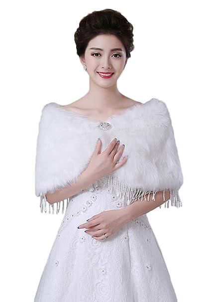 Sk Studio Bridal Faux Fur Wrap Shawl For Wedding Dress Winterwhite