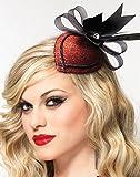 Leg Avenue Retro Lurex Fascinator Hair Clip with Rhinestone & Feather, One Size, Red
