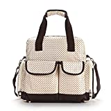 VOLADOR Multifunction Large Diaper Tote Bag, Nylon Waterproof Mummy Backpack Handbag, Baby Nappy Bag Mummy Bag Backpacking with Portable Diaper Mat Multifunctions Pockets(Beige)
