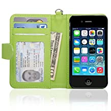 Navor Folio Wallet Case for iPhone 4 4S Pockets for Cards & Money, Clear Window Slot for License ID ( Green )