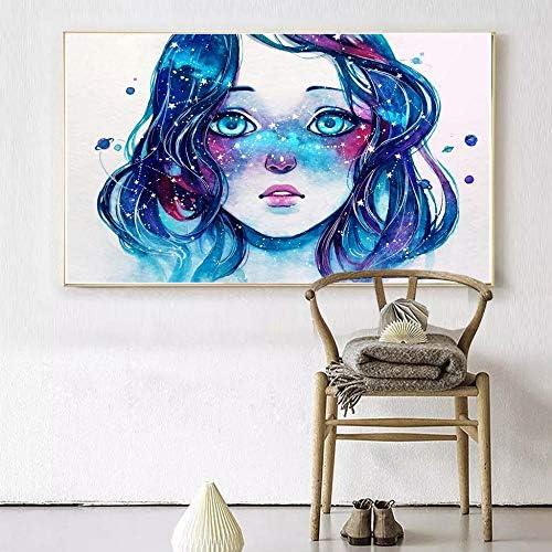tzxdbh Obra de Arte Pintura Starred Pecas Acuarela Blue Hair Girl Pictures Lienzo Impresos Pinturas Abstract Wall Art Posters-en Pintura y Caligrafía de Home & Garden Group 28X42cm con Marco: Amazon.es: Hogar