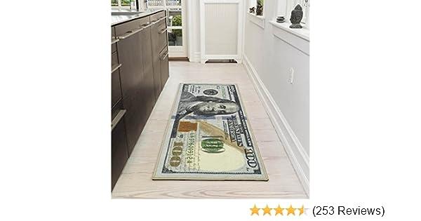 Ottomanson New Rugs One Hundred Dollar ($100) Bill Print New Benjamin Non-Slip Area Rug Runner, 22'' x 53'', Multi Color
