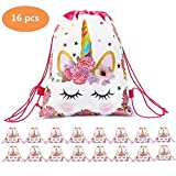 Unicorn Drawstring Backpack Party Favor Bags Unicorn Gift Bags for Kids Girls Boys Birthday Baby Shower Graduation Party Supplies ( White ,Rainbow ,Bulk 16 pcs Set) (Unicorn Bag)