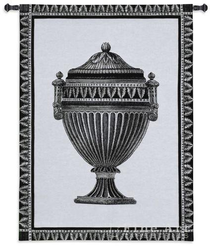 Fine Art Tapestries Empire Urn Ii Noir Hand Finished European Style Jacquard Woven Wall Tapestry USA 34X27