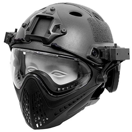 SHENKEL PJタイプ FAST ヘルメット フルフェイス マスク ゴーグル 取り外し可能 (ブラック) サバゲー装備 サバイバルゲーム メンズ レディース ミリタリー タクティカル B07FK9751B