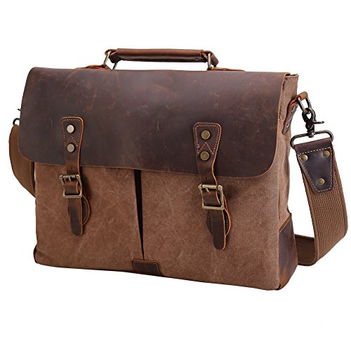 Tiding Men Retro Canvas Real Leather Laptop Messenger Bag Satchel Cross Body Shoulder Bag (Brown 15.6 inch) (Retro Leather Tote)