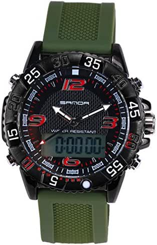 Boys Quartz Electronic Wrist Sport Watch Back Light Casual Business Sports Watches Black+Green