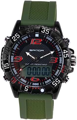 Boys Quartz Electronic Wrist Sport Watch Back Light Casual Business Sports Watches Black+Green