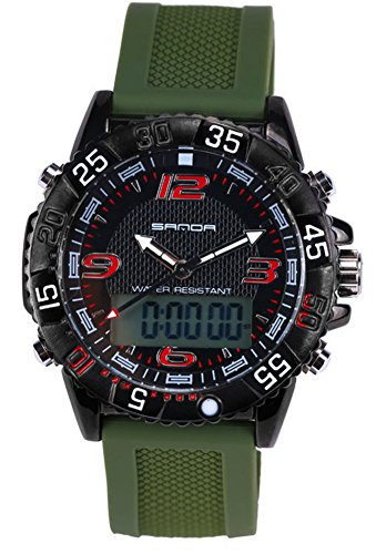 Boys Quartz Electronic Wrist Sport Watch Back Light Casual Business Sports Watches Black+Green by YLJHCYGG (Image #4)