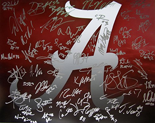 2017 Alabama Crimson Tide Team Signed Autographed 16 X 20 Large Photo W Coa Ncaa Champions Tua Tagovailoa