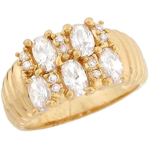 Five Stone White CZ Cluster Design Ladies Ring ()